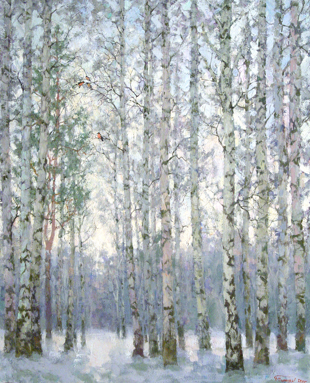 Birch triptych (Frozen Grove)